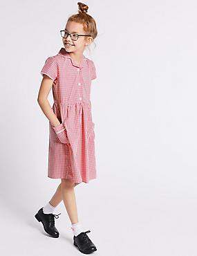 Girls' Gingham Pure Cotton Dress, PINK, catlanding