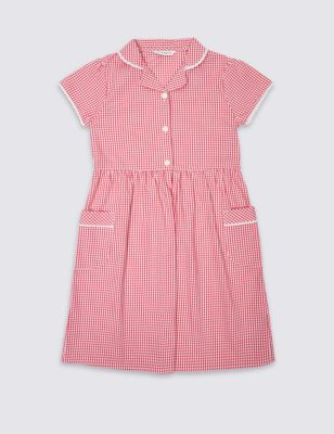 Pink Classic Summer Gingham Checked Dress Outfit