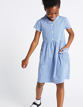 Girls' Gingham Pure Cotton Dress, BLUE, catlanding