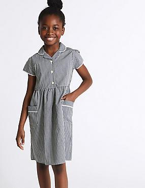 Girls' Gingham Pure Cotton Dress, NAVY, catlanding