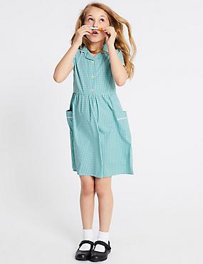 Girls' Gingham Pure Cotton Dress, GREEN, catlanding