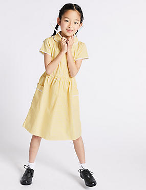 Girls' Gingham Pure Cotton Dress, YELLOW, catlanding