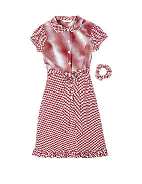 Girls' Pure Cotton Non-Iron Summer Gingham Check Dress with Hairband
