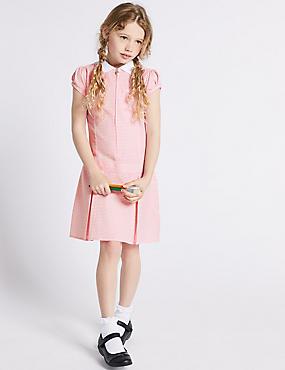 Girls' Gingham Pleated Dress, PINK, catlanding