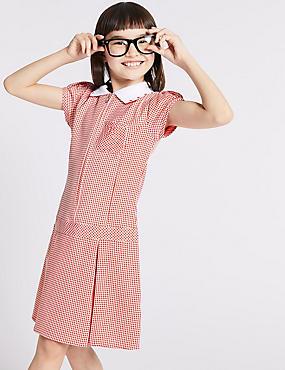 Girls' Gingham Pleated Dress, RED, catlanding