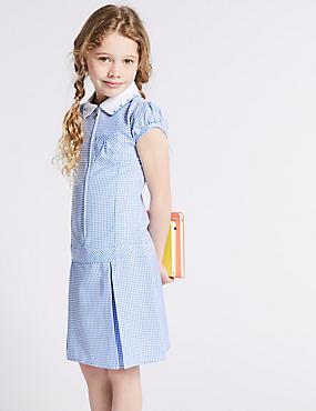 Girls' Gingham Pleated Dress, BLUE, catlanding