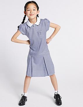 Girls' Gingham Pleated Dress, NAVY, catlanding