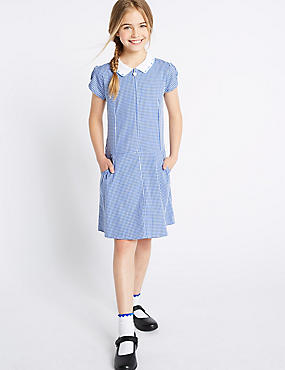 Gingham Pure Cotton Dress (2-14 Years), BLUE, catlanding