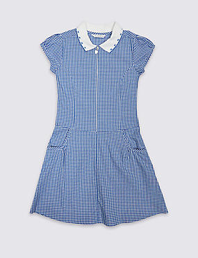 Girls' Pure Cotton Non-Iron Gingham Dress
