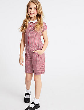 Checked Pure Cotton Playsuit (2-14 Years), RED, catlanding