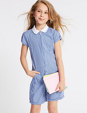 Checked Pure Cotton Playsuit (2-14 Years), BLUE, catlanding