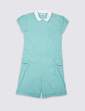 Pure Cotton Checked Playsuit