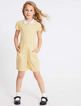 Checked Pure Cotton Playsuit (2-14 Years), YELLOW, catlanding