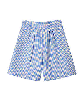Girls' Gingham Culottes with Crease Resistant