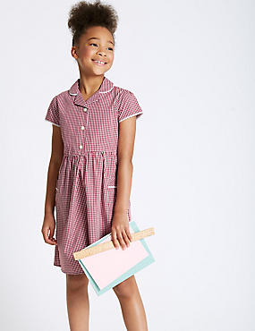 Girls' Easy Dressing Checked Pure Cotton Dress, RED, catlanding