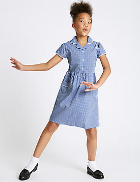 Girls' Easy Dressing Checked Pure Cotton Dress, BLUE, catlanding