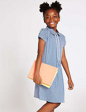 Girls' Gingham Pure Cotton Zip Dress, BLUE, catlanding