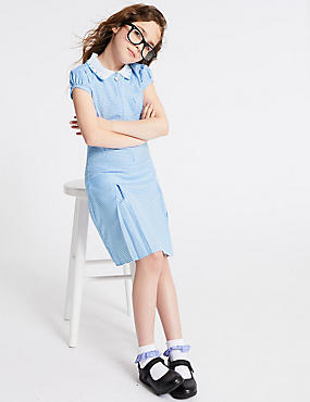 Girls' Gingham Longer Length Pleated Dress, BLUE, catlanding