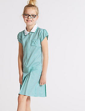 Girls' Gingham Longer Length Pleated Dress, GREEN, catlanding