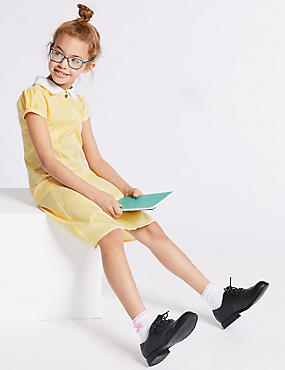 Girls' Gingham Longer Length Pleated Dress, YELLOW, catlanding