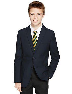 Senior Boys' Slim Fit Blazer, NAVY, catlanding