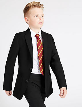 Senior Boys' Longer Length Blazer, BLACK, catlanding