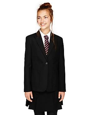 Senior Girls' Slim Fit Blazer, BLACK, catlanding