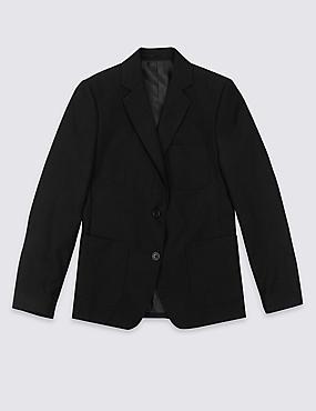 Senior Girls' Plus Fit Blazer, BLACK, catlanding