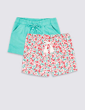 2 Pack Cotton Rich Shorts (3 Months - 7 Years), PINK MIX, catlanding