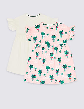 2 Pack Pure Cotton Dress (3 Months - 7 Years), PINK MIX, catlanding