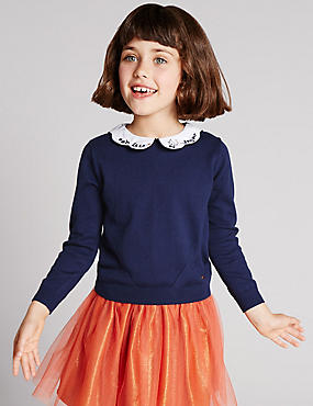 Cotton Rich Peter Pan Collar Jumper with Cashmere (1-7 Years)