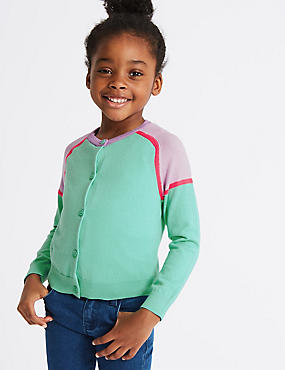 Pure Cotton Cardigan with StayNEW™ (3 Months - 7 Years), GREEN MIX, catlanding