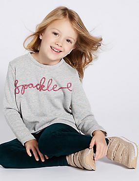 Sparkle Sweatshirt (3 Months - 7 Years), GREY, catlanding
