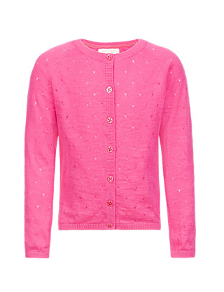 Pure Cotton Pointelle Cardigan Clothing