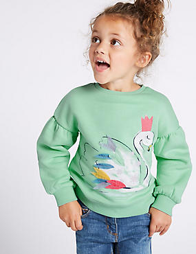 Cotton Rich Swan Sweatshirt (3 Months - 7 Years), LIGHT GREEN, catlanding