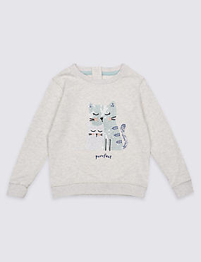 Pure Cotton Cat Sweatshirt (3 Months - 5 Years)