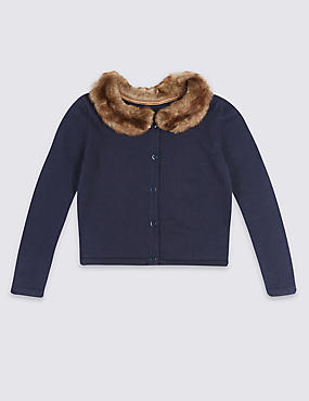 Pure Cotton Faux Fur Collar Cardigan (1-10 Years)