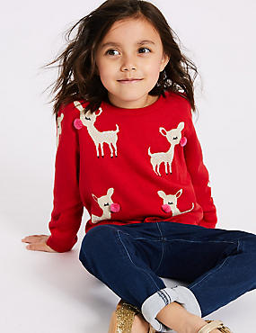 Cotton Rich Jumper (3 Months - 7 Years), RED MIX, catlanding
