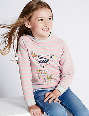 Cotton Blend Bird Print Jumper (1-7 Years)
