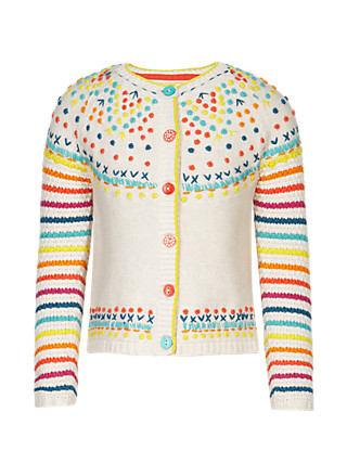 Pure Cotton Embroidered & Striped Cardigan (1-7 Years) Clothing