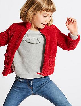 Zipped Through Cardigan (3 Months - 6 Years), RED, catlanding