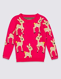 Cotton Rich All Over Deer Print Christmas Jumper (3 Months - 6 Years)