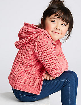 Knitted Hooded Top (3 Months - 7 Years), PINK, catlanding