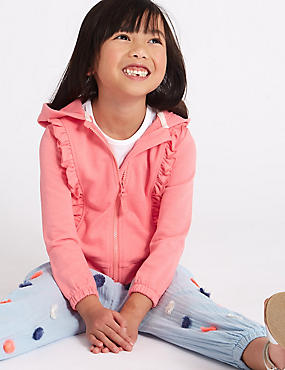 Cotton Rich Frill Hooded Top (3 Months - 7 Years), PINK, catlanding