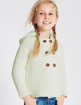 Pure Cotton Hooded Cardigan with StayNEW™ (1-7 Years)