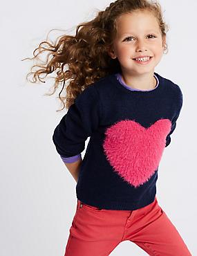Heart Knitted Jumper (3 Months - 7 Years), NAVY MIX, catlanding
