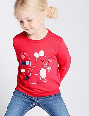 Cotton Rich Sweatshirt (3 Months - 7 Years), DARK PINK, catlanding