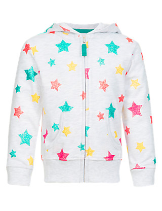 Star Print Hooded Sweat Top Clothing