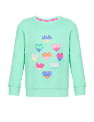 Appliqué Heart Sweatshirt with StayNEW™ (1-7 Years) Clothing