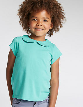3 Pack Pure Cotton Peter Pan Collar T-Shirts (1-7 Years)